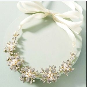 Anthropologie Crown Headband Necklace Pearl Belt